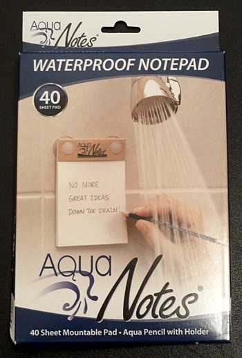 AquaNotes is 40 waterproof 3-1/2 x 5-1/4 inch pages bound in a pad with  rear suction cups to adhere to your shower or tub walls, ...