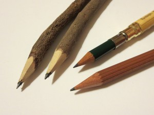 Evolution? The Faber-Castell Perfect Pencil (left) does seem like the pinnacle of pencildom...