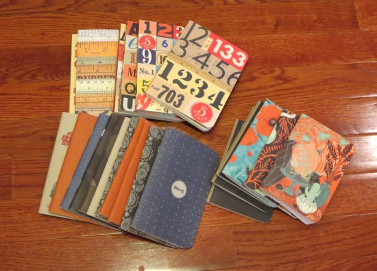 Assorted pocket notebooks, fall 2012-present. (Click to enlarge)