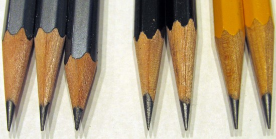 From left to right, points made with: Blackwing Long Point; KUM 1-Hole Long Point; KUM Brass Wedge Single Hole 300-1