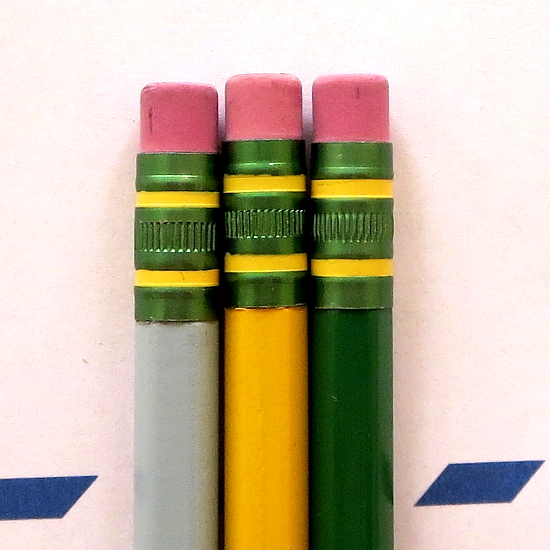 Light blue Ticonderoga formerly sold as boasting Microban, standard yellow, and the green from the muted color pack.